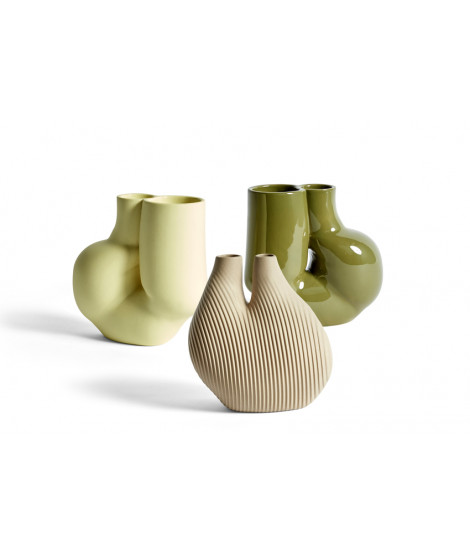 HAY W&S Wang & Söderström Vase Chamber Vaas Beige Chubby Soft Yellow  Olive Green