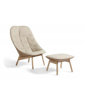 Uchiwa Quilt Lounge Chair with ottoman - Lacquered oak base - Beige fabric