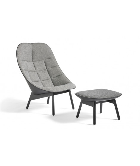 Uchiwa Quilt Lounge Chair with ottoman - Black lacquered oak base - Grey fabric