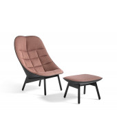 Uchiwa Quilt Lounge Chair with ottoman - Black lacquered oak base - Red fabric