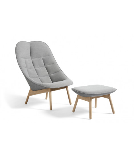 Uchiwa Quilt Lounge Chair with ottoman - Lacquered oak base - Grey fabric
