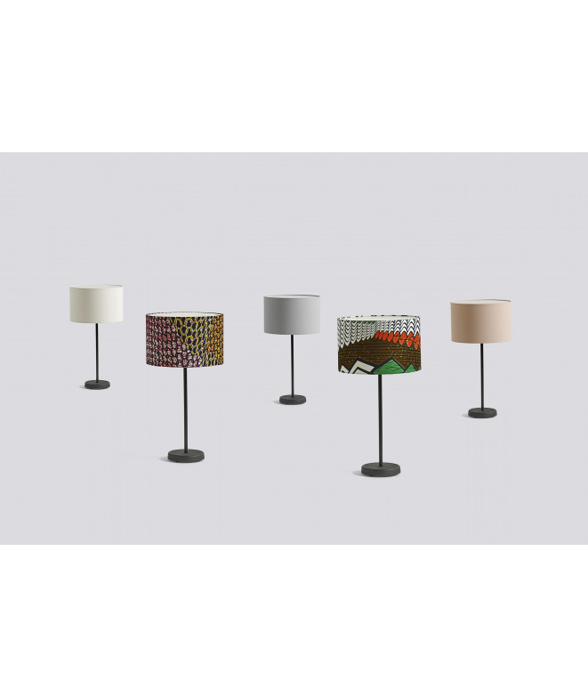 Cast Table base with drum shade table lamp